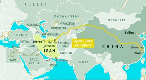 Mapa linii kolejowej Chiny-Iran