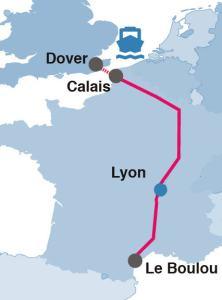 Mapa: Kolejowa autostrada Calais-Hiszpania