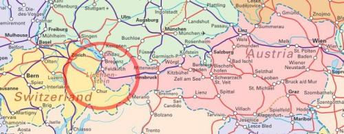 Kolejowa mapa centralnej Europy: Austria, Szwajcaria, Lichtenstein