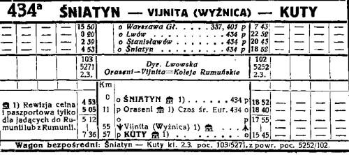 Tabela 434a z rozkładu jazdy PKP lato 1938