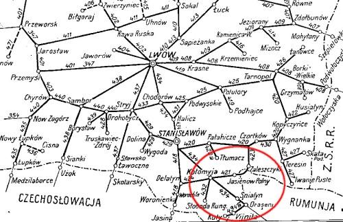 Mapa IV okręgu PKP, 1938 rok