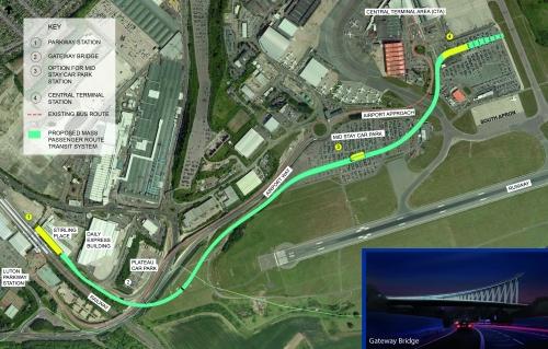 Mapa lotniska w Luton i trasy budowanej automatycznej kolejki