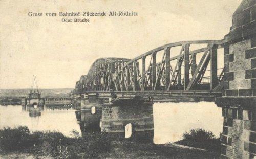 most kolejowy Siekierki – Neurüdnitz, stan z około 1910 roku