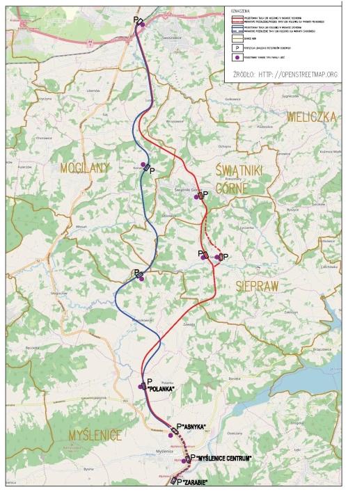 projektowane warianty linii kolejowej Kraków-Myślenice