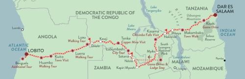 Mapa trasy pociągu z Angoloido Tanzanii