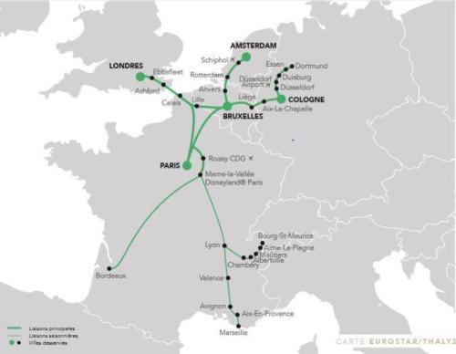 mapa połączeń Eurostar i Thalys