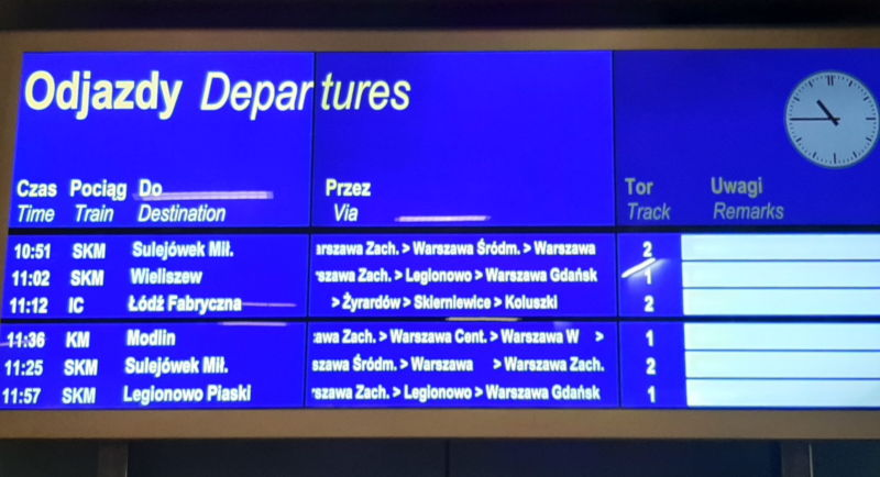 tablica odjazdów Warszawa lotnisko Chopina