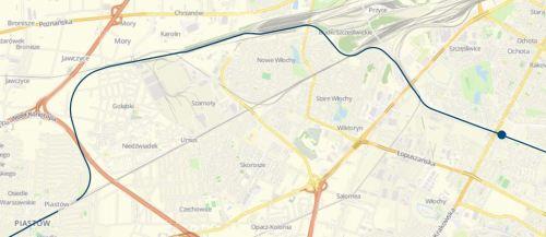 mapa trasy Wwa Aleje Jerozolimskie - Piastów