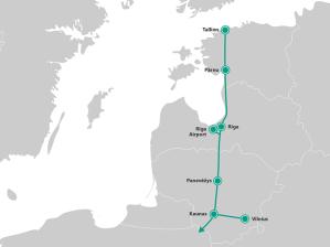 mapa Rail Baltica na odcinku do granicy polskiej