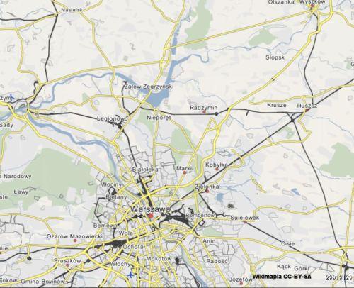 mapa Kolei Nadwiślańskiej na półmoc od Warszawy