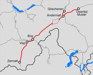 mapa kolei Matterhorn–Gotthard-Bahn