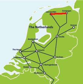 Schematyczna mapa kolejowa Holandii