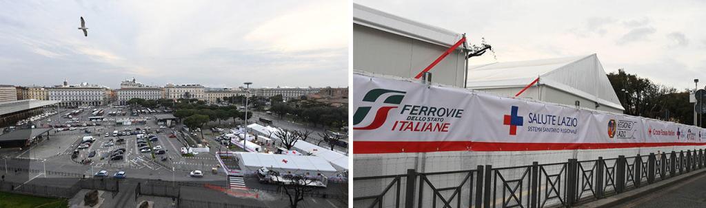Zespół namiotów służących jako punkt szczepień przed dworcem Roma Termini