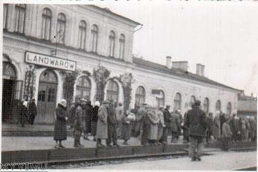 Dworzec w Landwarowie, około 1939 roku