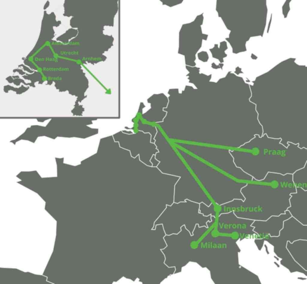 Mapa połączeń GreenCityTrip