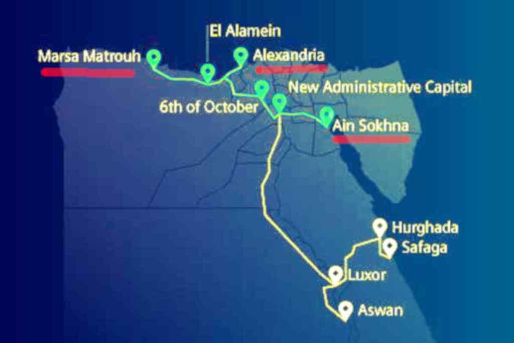 Mapa planowanej rozbudowy sieci kolejowej w Egipcie